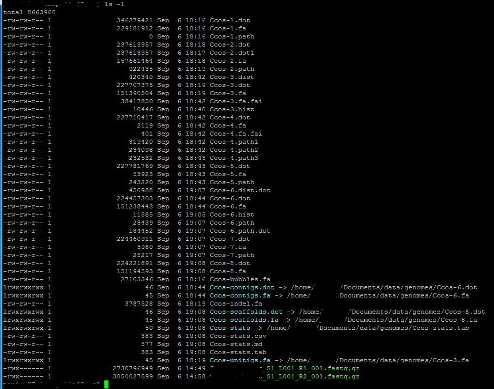 ls -l of my output folder